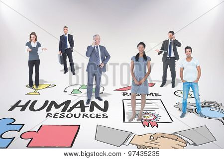Business team against human resources doodle