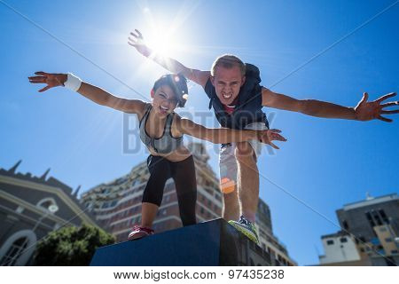 Portrait of a couple doing funny faces on a sunny day