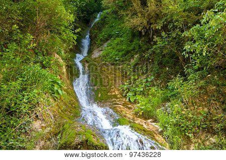 Image of narrow waterfall among trees