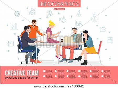 Creative Team Infographics. Business meeting and Coworking people for your design. Talking and worki