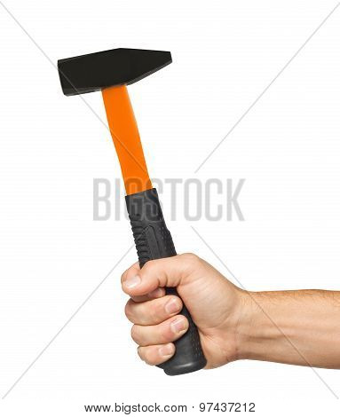 Hammer In Man Hand Isolated On White