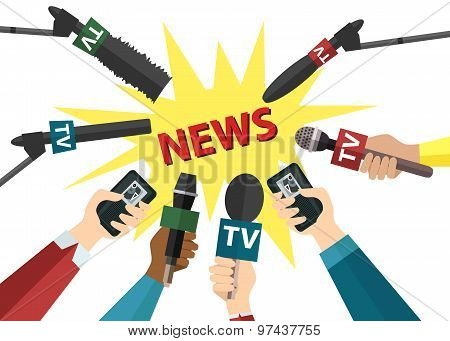 Journalism and press concept with hands holding microphones and voice recorders.Hot news template.