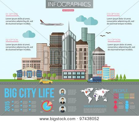 Big city life infographics with road, tall buildings, skyscrapers, car, bicycle, plane. Flat style d