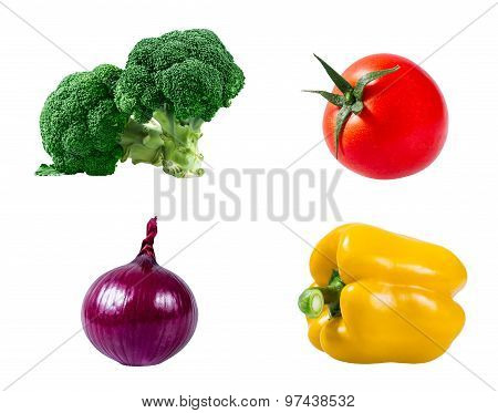 Set Of Vegetable Tomatoes, Yellow Papper, Red Onion And Broccoli Isolatedon White Background