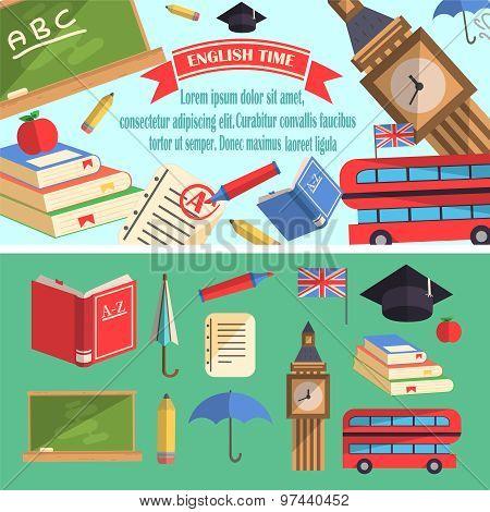 English Time Education Illustration.