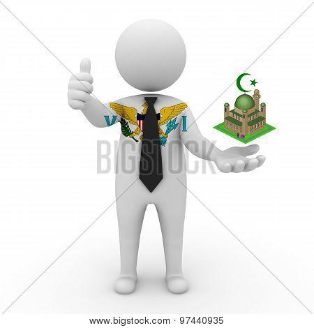 3d businessman people American Virgin Islands - Muslim mosque and Islam in American Virgin Islands
