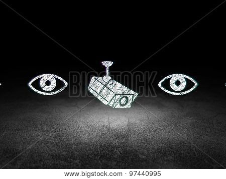 Security concept: cctv camera icon in grunge dark room