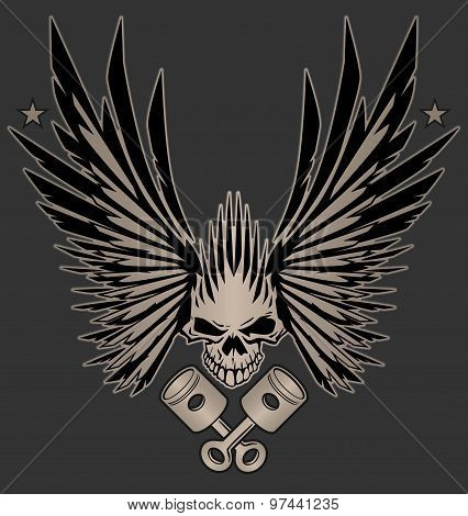 Skull Wings and Crossed Pistons Illustration