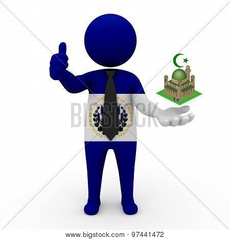 3d businessman people Salvador- Muslim mosque and Islam in Salvador