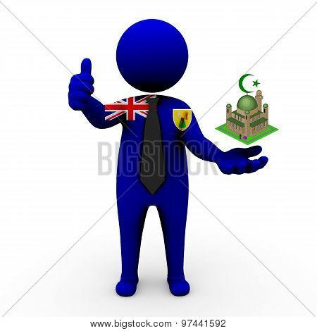 3d businessman people Turks and Caicos Islands - Muslim mosque and Islam in Turks and Caicos Islands