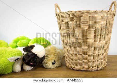 Animal Dolls Beside  Rattan Basket