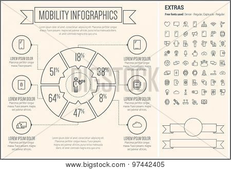 Mobility infographic template and elements. The template includes the following set of icons - rocket, cloud, smartphone, microphone, thumbs-up, thumb mark, wristwatch and more. Modern minimalistic