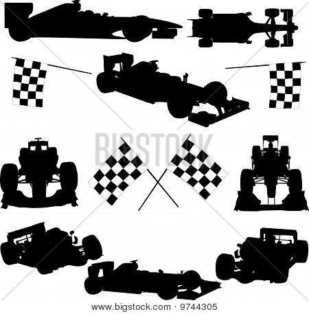 Formula Cars, Flag And Icon