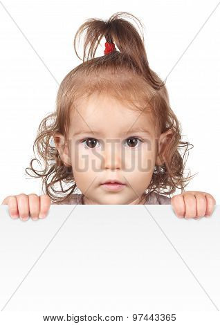 Funny Child Girl Hold White Banner