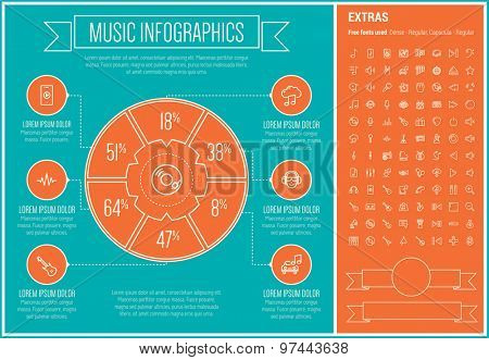 Music infographic template and elements. The template includes the following set of icons - drum, piano, disco light, trumpet, organ, speaker, microphone, earphone and more. Modern minimalistic flat