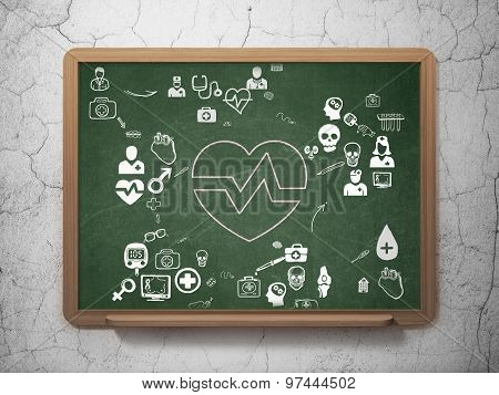 Medicine concept: Heart on School Board background