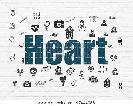 Health concept: Heart on wall background