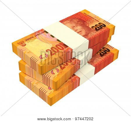 South african rands isolated on white background. Computer generated 3D photo rendering.