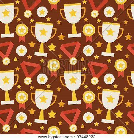 Flat Vector Seamless Pattern Sport Competition Trophy Winning With Medal