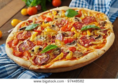 Pizza with salami, tomato, cheese and mushrooms