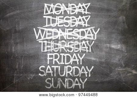 Days of Week written on a chalkboard