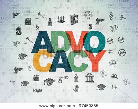 Law concept: Advocacy on Digital Paper background