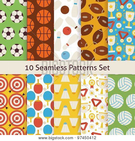 Ten Vector Flat Seamless Sport Recreation And Competition Patterns Set