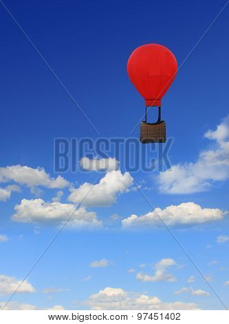 Blue Sky With Clouds, Floating Hot-air Balloon