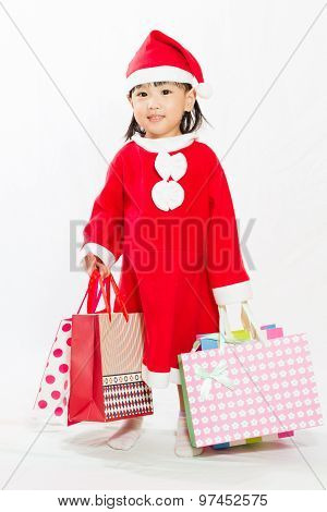Asian Little Santa Claus With Shopping Bag