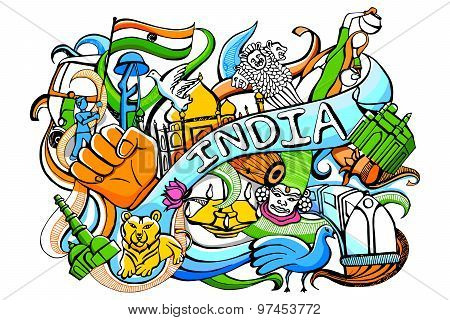 Doodle on India concept