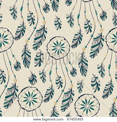 Dream catcher seamless pattern.