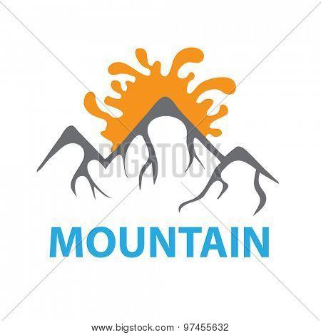 Mountain landscape and sun, vector logo illustration