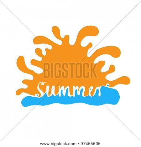 Hand-written word SUMMER, lettering. Vector logo illustration