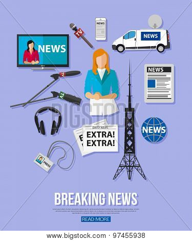 Breaking news flat design concept with place for text. Journalism icons set.