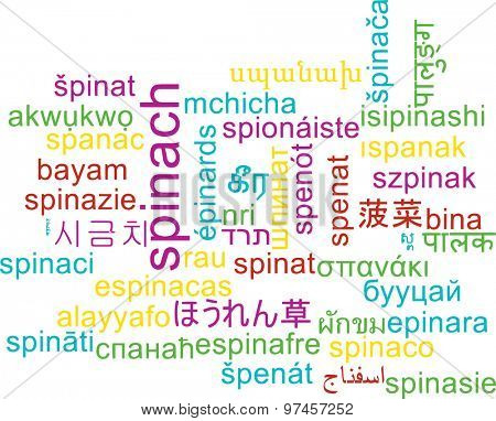 Background concept wordcloud multilanguage international many language illustration of spinach