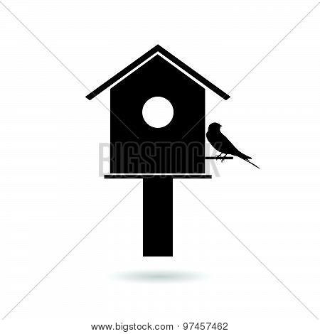 Birdhouses With Sparrow Black Vector