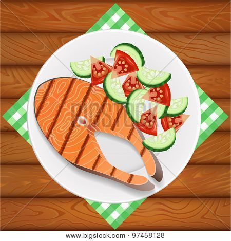 Salmon Grilled And Salad Fresh