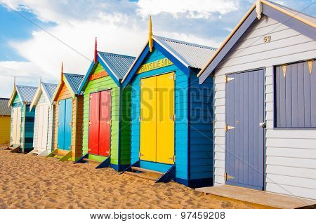 Bathing Boxes At Brighton Beach, Australia