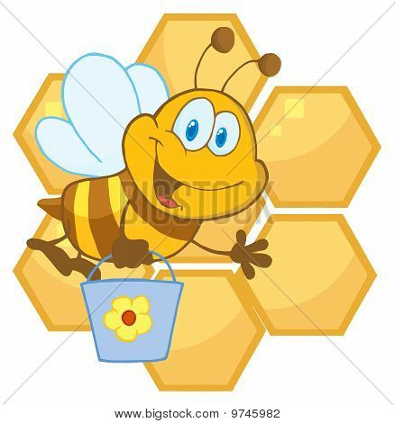 Cute Bee Waving And Carrying A Bucket Over Honeycombs