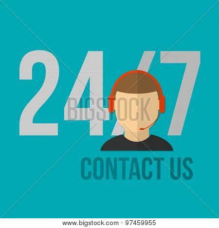 Technical support icon. Flat design vector illustration.