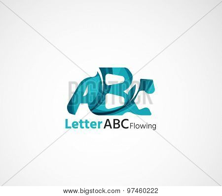Abc company logo. Vector illustration. Made of overlapping wave elements, abstract composition. Font business icon concept