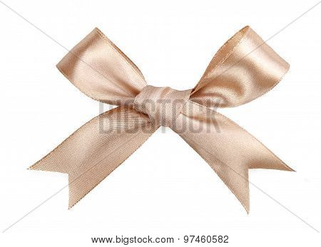 Brown Bow Isolated On White Backdrop