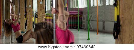 Girl Training Pole Dance