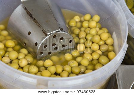 Olives In Conserve In A Pot From Marketplace