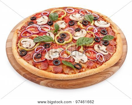 Italian Delicious Pizza With Mushrooms And Ham Isolated.