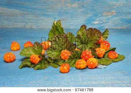 Ripe Cloudberry On A Blue Background