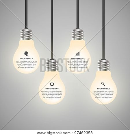 Creative 3D Light Bulb Infographics Design Template.