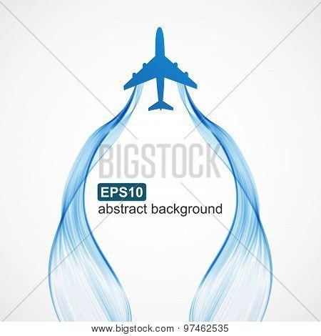Airplane Blue Wave Smoke Background.