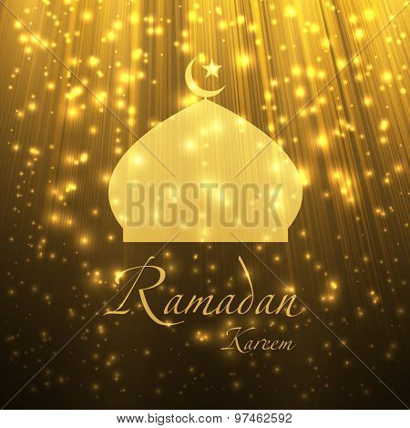Silhouette Of A Muslim Mosque On The Shiny Abstract Background.  Vector Illustration.