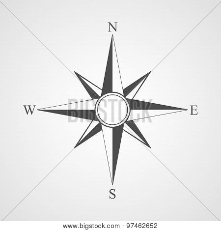 Vector Black Compass Icon.